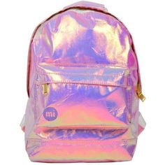 Miss Selfridge Holographic Mini Backpack ($53) ❤ liked on Polyvore featuring bags, backpacks, miss selfridge, pink, party bags, pink backpack, backpack bags, mini backpack and mini bag