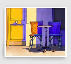 Paris illustration - Cafe Camille -  the artist uses color beautifully to convey light and shadow