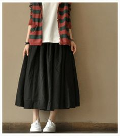 Have stone linen and striped (White/dark grey) linen skirts, full, need help accessorizing and make into outfits. Modern Hijab Fashion, Muslim Fashion, Korean Fashion, Boho Fashion, Girl Fashion, Womens Fashion, Pretty Outfits, Beautiful Outfits, Long Skirt Looks
