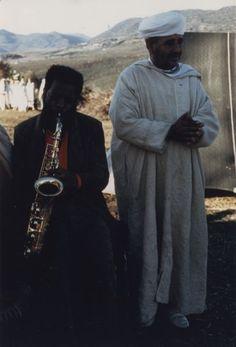 "Ornette Coleman  & ""Maalem"" Fidal (The Master Musicians of Jajouka) c. 1973, Jajouka, Morocco"