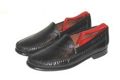 Johnston & Murphy Men's Black Leather Reptile Print Loafer Slip On Size 9.5 M #JohnstonMurphy #LoafersSlipOns