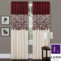 Red Faux Silk 84-inch Estate Garden Curtain Panel   Overstock.com Shopping - Great Deals on Lush Decor Curtains