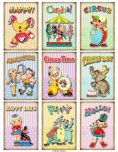 Instant Download: Retro Circus Party, ATC ACEO Sized Digital Collage Sheet. Printable Page of Vintage Clowns, Carnival, Elephants, etc. all 9