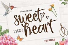 Sweet Heart Script Brush font from FontBundles.net, Graphic Design Resources Creative Fonts, Cool Fonts, New Fonts, Script Fonts, Pretty Fonts, Creative Ideas, Wedding Card Design, Wedding Cards, Wedding Invitations