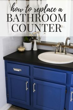How to replace a bathroom counter on your own. It's an easy DIY project that will totally transform your bathroom on a budget! Diy Bathroom Remodel, Budget Bathroom, Simple Bathroom, Kitchen Remodel, Bathroom Ideas, Bathroom Showers, Bathrooms, Master Bathroom, Restroom Remodel