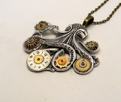 Awesome large octopus steampunk necklace made of large octopus charm and vintage watch and clock gears. The size is about 2 by 2 1/4 and it has 24