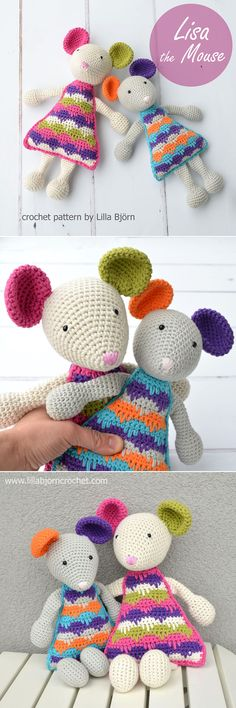 Let me introduce: Lisa the Mouse (new crochet amigurumi patt.- Let me introduce: Lisa the Mouse (new crochet amigurumi pattern) Lisa the Mouse – easy crochet pattern by Lilla Bjorn Crochet - Crochet Lovey, Crochet Mouse, Crochet Patterns Amigurumi, Diy Crochet, Crochet Crafts, Crochet Dolls, Crochet Projects, Simple Crochet, Crochet Mandala
