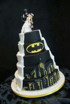Half traditional, half Batman wedding cake.