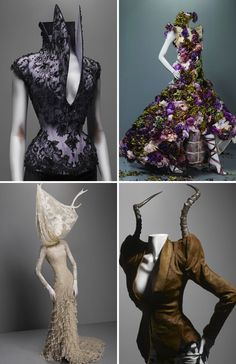Horns look prettier on the animals, but the dress styles - horns are beautiful. Alexander Mcqueen
