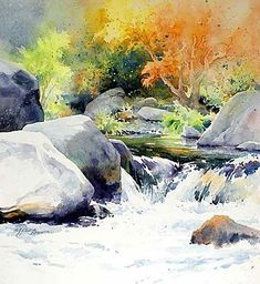Painted by Julie Gilbert Pollard ~ I love this watercolor.I can just feel the icy cold water running over my feet! Art Aquarelle, Watercolor Water, Watercolor Landscape Paintings, Landscape Art, Watercolor Techniques, Painting Techniques, Guache, Beautiful Paintings, Painting Inspiration