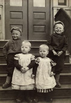 Dutch immigrant toddlers in traditional clothing and wooden shoes - I wonder if my Dutch ancestors dressed their children like this after immigrating?