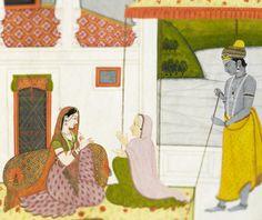 Folio 48 from the Kangra Rasikapriya:'Oh Friend! Unfortunately, Krishna is not the Lotus-Lover, as you describe him' School of Purkhu, Kangra, circa 1810