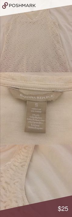 Lace dress shirt/blouse Beautiful white lace dress shirt/blouse. Banana Republic size S. Excellent used condition. Banana Republic Tops Tank Tops