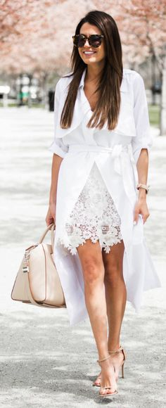 Christine Andrew + ultra-chic + beautiful white trench + statement sunglasses + cute handbag + ultimate summer look!   Trench/Body Suit:  Ily Couture, Scallop Skirt: intermix online, Heels: Nordstrom