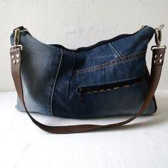 denim and leather bag, recycled denim hobo bag by reloveduk on Etsy Recycled  Denim, 0b98b08549