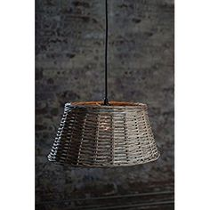 Vagabond Vintage, Small Round Handwoven Willow Pendant Shade in Grey Wash - - Amazon.com