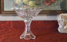 Antique Wilcox Sterling Silver Rim Compote - American Brilliant Glass Compote - Sterling Silver Grape Pattern - Hobstar Cut Crystal