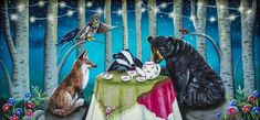 """Woodland Friends"", acrylic on wooden tea chest. Prints available soon! By Carolee Clark of King of Mice Studios."