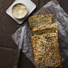 This low-carb bread is chock-full of seeds and flours that make the loaf mimic classic bread while managing to keep carb counts low. This bread is a vessel for both sweet and savory toppings, but the … Quick Bread Recipes, Gourmet Recipes, Low Carb Recipes, Cooking Recipes, Healthy Nut Bread Recipe, Healthy Breads, Drink Recipes, Healthy Recipes, Scones