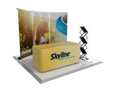 Back Wall Booth Concept with Branded Table Throw