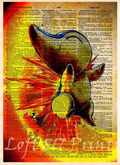 Pokemon art, Pokemon Cyndaquil, video game art, Pokemon poster, kids room art