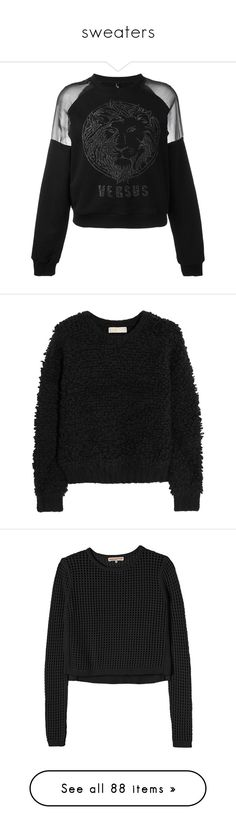 """""""sweaters"""" by evenaka on Polyvore featuring tops, hoodies, sweatshirts, sweaters, black, glitter sweatshirt, glitter top, jumpers, michael michael kors and textured top"""