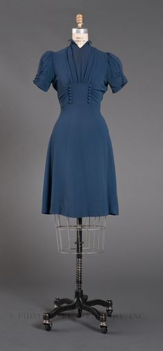 A lovely blue day dress, 1939. Reminds me of a dress I made for 1940's Radio Hour musical years ago for a beautiful young lady