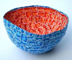 Papier Mache bowl made out of stamps and newspapers | Greendiary : Greendiary – Let's go green and save the environment for a sustainable fu... Recycled Crafts, Recycled Materials, Craft Materials, Postage Stamps, Paper Mache Bowls, Paper Bowls, Green Revolution, Art Du Papier, Stamp Collecting