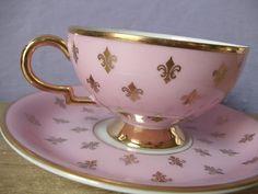 Antique 1920's RWK Bavaria German porcelain tea cup and saucer, Pink and gold fleur de lis