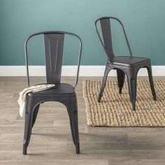 Lilian Metal Slat Back Stacking Side Chair Upholstered Storage Bench, Upholstered Dining Chairs, Dining Chair Set, Old Chairs, Cafe Chairs, Ikea Chairs, Black Metal Dining Chairs, Black Chairs, Decoration Inspiration
