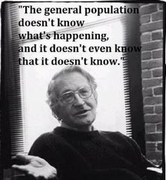 Noam Chomsky. Brilliant Man. He knows that the vast majority are not paying attention. Even when they are, the Mainsteam Media is Corporate Owned & Misleading. Wake Up America.