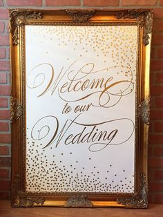 Elegant Welcome to our Wedding Sign  White with Gold Lettering and Gold Confetti