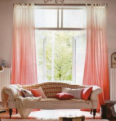 Pieces Of Coral Curtains Living Room Interior Design 3 Interior Design Living Room, Living Room Designs, Room Interior, Coral Curtains, Easy Curtains, Homemade Curtains, Living Room Decor Curtains, Ideas Geniales, Home Decor