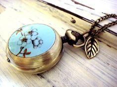 Flowering Twig  turquoise enamelled pocket by VillaSorgenfrei, $24.90