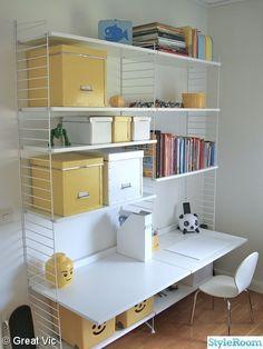 String Shelf, Home Office, Teak, Corner Desk, Shelving, Kids Room, Interior Design, House, Inspiration