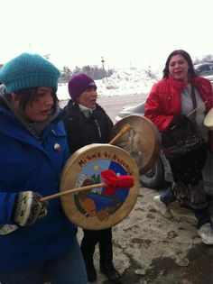 Mi'kmaq and supporters braved the cold to honour residential school survivors for #IdleNoMore