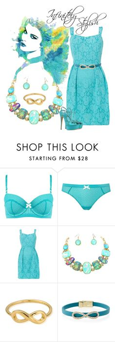 """""""Infinite Turquoise"""" by foreevers ❤ liked on Polyvore featuring Elle Macpherson Intimates, Louche, ChloBo, Fragments and Casadei"""