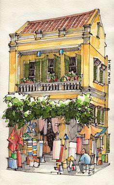 Jorge Royan,Vietnam from urban sketchers Pen And Watercolor, Watercolor Paintings, Watercolor Trees, Watercolor Portraits, Watercolor Landscape, Abstract Paintings, Watercolours, Painting & Drawing, Drawing Sketches
