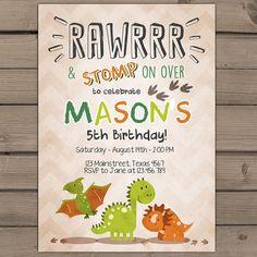 Dinosaur birthday invitation Dinosaur Party by Anietillustration