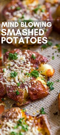 Dec 2019 - Smashed Potatoes -smashed potatoes are easy with their crisp salty skins and golden crispy edges. The centers are soft and the cheese crust makes them irresistible! The most delicious side dish! Potato Sides, Potato Side Dishes, Veggie Side Dishes, Vegetable Sides, Side Dishes Easy, Side Dish Recipes, Food Dishes, Vegetable Dishes For Dinner, Side Dishes For Burgers