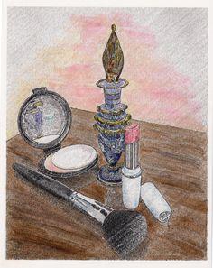 Watercolor for Bedroom Vanity Art Print Cosmetics Painting