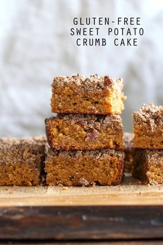 Vegan Gluten free Coffee Cake - Simple Fall Sweet Potato Pecan Crumb Cake with Pumpkin pie spices. Warm Cozy slice of cake. Gluten-free Soy-free Recipe.