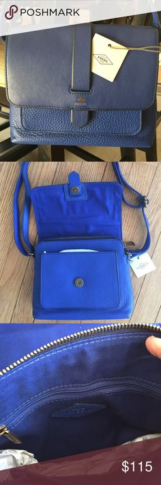 "Gorgeous cobalt blue Fossil Crossbody So pretty!  This blue is just striking, NWT Fossil bag with double straps, measures 10"" X 7"".  Outer pouch, magnetic close, zip close with inner pouch and zip pocket.  So pretty!  ⭐️ Fossil Bags Crossbody Bags"