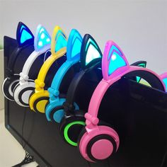 Flashing Glowing Cat Ear Earphone Foldable Headphones Gaming Headset with LED Light For PC Laptop Mobile Phone children gift Cat Headphones, Best In Ear Headphones, Wireless Headphones, Cat Ear Headset, Gaming Headset, Bandeau, Gifts For Kids, Design, Cat Ears