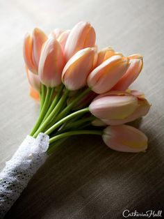 A spring wedding bouquet with perfect peach tulips by erica rose design, San Francisco.