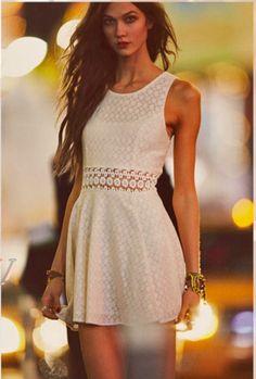 karlie in a little white dress