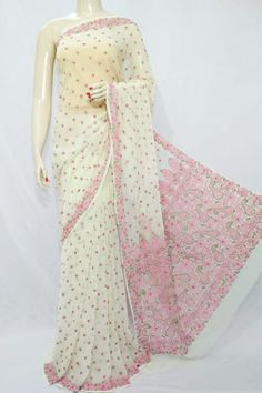 Light Yellow Color Hand Embroidered Lucknowi Chikankari Saree (With Blouse - Georgette) 71122 Kerala Saree Blouse Designs, Cotton Saree Designs, Saree Blouse Neck Designs, Cotton Sarees Handloom, Georgette Sarees, Silk Sarees, Organza Saree, Net Saree, Embroidery Suits Punjabi