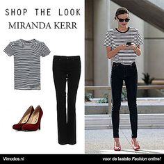 Shop the look van Miranda Kerr nu bij Vimodos  Jeans: http://www.vmds.nl/n3 T-shirt: http://www.vmds.nl/n4 Pumps: http://www.vmds.nl/n5