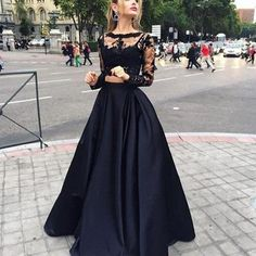 UlassBlack Two-Piece Prom Dresses 2016 Long Sleeves Puffy Skirt Sexy A-line Evening Gowns