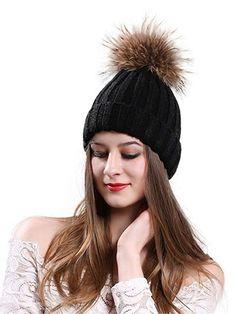 223022db048 CR Womens Winter Fur Hats Real Raccoon Fur Pom Pom Girls Knit Beanie Hat  Review